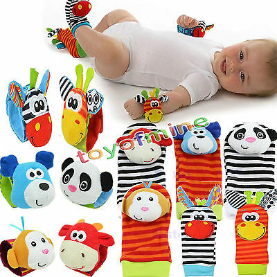 Infant Baby Kids Animal Hand Wrist Bells Foot Socks Rattles Soft Toys