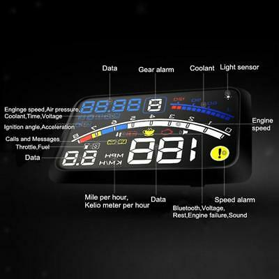 "5.5"" Car HUD Head Up Display OBDII EUOBD KM/h MPG MPH Speed Warning"