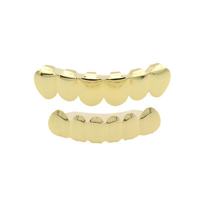Gold Plated Hip Hop Teeth Grillz Top Bottom Grill Set Mouth Teeth Grills Caps