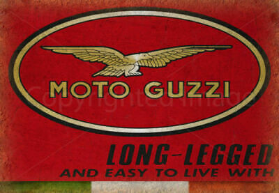 Vintage Garage Moto Guzzi Italian Motorcycle Metal Tin Sign Poster Plaque