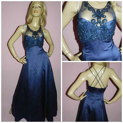 80s NAVY BLUE NET TULLE BEADED MAXI PRINCESS PROM PARTY DRESS 10-12 EVENING 1980