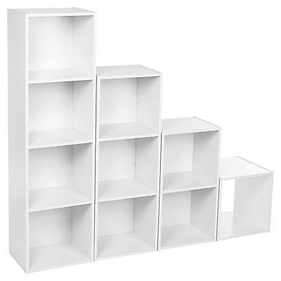 Cube 2, 3, 4 Tier White Wooden Book Case Display Storage Shelving Unit White
