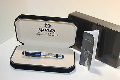 MARLEN XXI FOUNTAIN PEN SILVER NEW resin blue and silver