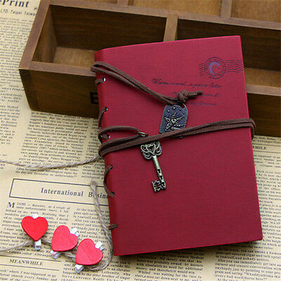 Retro Classic Vintage Leather Bound Blank Pages Journal Diary Notebook 1Pcs FT