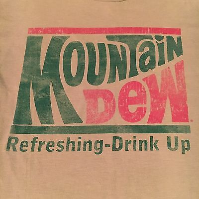 retro MOUNTAIN DEW t shirt-REFRESHING-DRINK UP--vintage STYLE-looks UNUSED--(L)