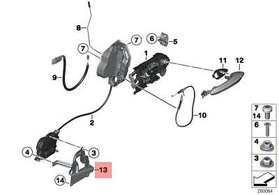 Genuine BMW F06 Adapter plate Locking System Front Door Right OEM 51217276316