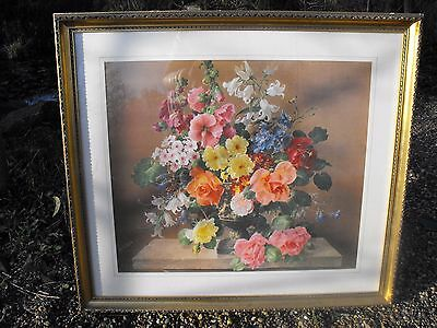Large Vintage Framed Harold Clayton Print Shabby Chic Roses Flowers Retro Kitsch