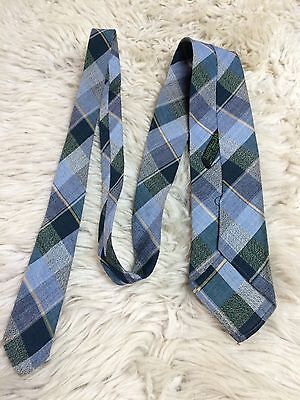 Vintage 1940s Tootal Tartan Plaid Rayon Tie Green Blue Yellow Swing War Vgc