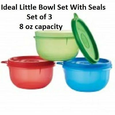 Tupperware Ideal Lil Bowl Set of 3 With Matching Seals Snacks Lunch BPA Free