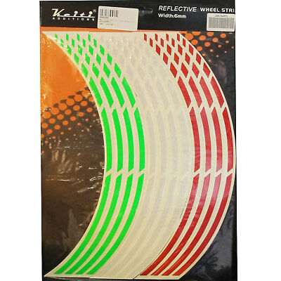 Keiti Motorcycle Wheel Rim Stripes Pre-curved Decal Red White Green