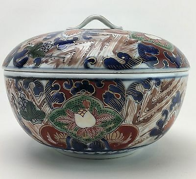 19th c. Japanese Gold Imari Porcelain Covered Bowl Hand Painted