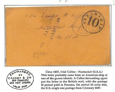 AF101 1857 CHILE GBPO ABROAD *Callao FAC *PAID TO PANAMA* Maritime USA Nantucket