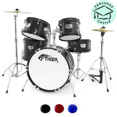 Tiger Junior Drum Kit For Kids - 5 Piece Childrens Drum Set with Stool