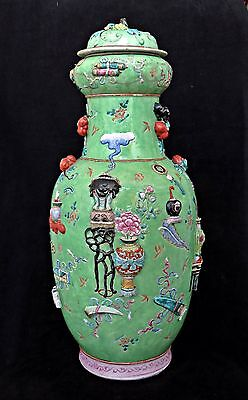 "Very Large Antique Chinese Porcelain Relief Moulded Vase Hundred Antiques, 22"" H"