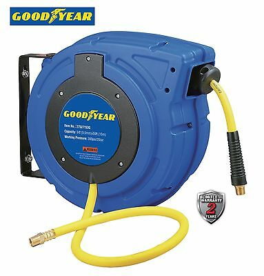 "GOODYEAR Enclosed Retractable Air&Water Hose Reel, 3/8"" 50 ft. 300PSI AutoRewind"