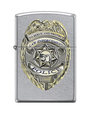 Zippo 3003, Police Badge-To Serve & Protect,  Street Chrome Lighter