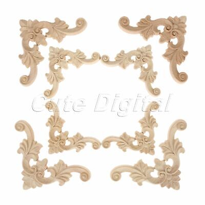 Unpainted Wood Carved 7*7cm/11*11cm Cabinets Corner Onlay Applique Decal Décor