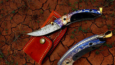 Custom Hand Made Damascus Steel Pocket / Folding Knife (Sp-03)