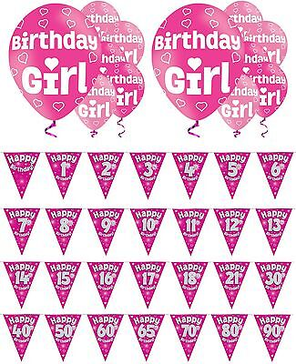 "Any Age Happy Birthday Pink Foil 3.6M Bunting & 6 Girl 11"" Helium Latex Balloons"