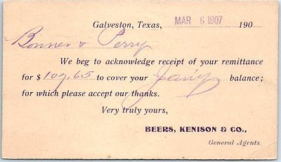 "Galveston, Texas Postcard ""BEERS, KENISON & CO."" Receipt Card w/ 1907 Cancel"