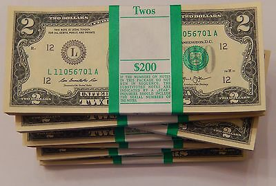 50x Uncirculated $2 Sequential Serial Note $100 FV US Currency Two Dollar Bills