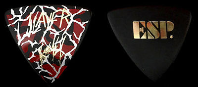 Slayer Kerry King Signature Custom Gold on Red White and Black ESP Guitar Pick