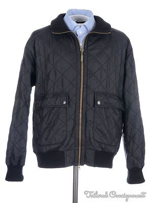 BARBOUR Black Quilted FLYER POLARQUILT Full Zip Mens Bomber Jacket Coat - LARGE