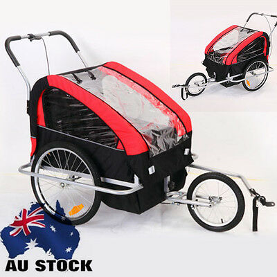 Double Kids Red Foldable Pet Bike Trailer Bicycle Stroller Jogger Carrier AU