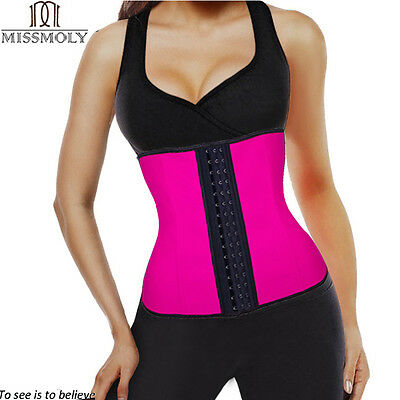 Latex Rubber Waist Trainer Cincher Underbust Corset Body Shaper Shapewear New