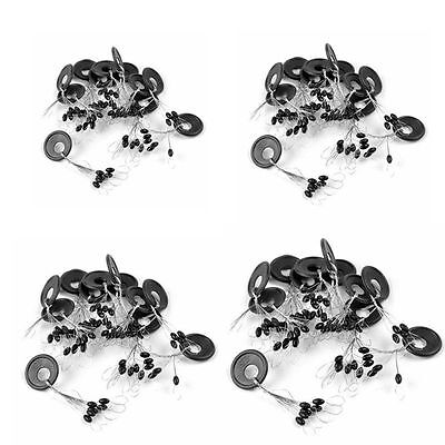 10Pcs XS-L 6 in 1 Oval Black Rubber Stopper Fishing Tackle Tool Bobber Float