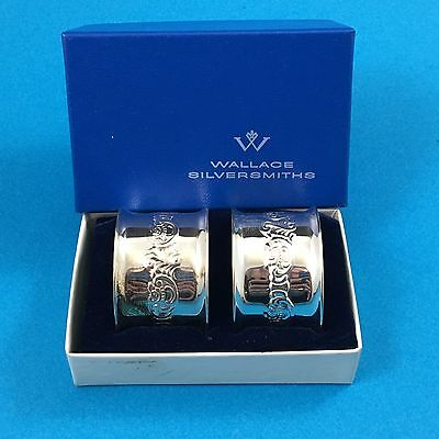 PAIR Wallace Baroque Napkin Rings In Box Silver Plate Set 734