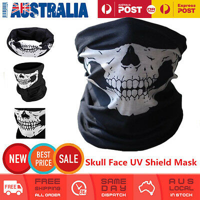 Bandana Face UV Shield Mask Headwear Biker Neck Tube Scarf Skull Heads Free Post