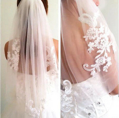 1-Layer White/Ivory Waist Length Wedding Bridal Veil with Comb Wedding Accessory