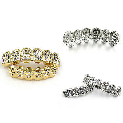 High Quality Bling Hip Hop Mouth Teeth Grills Grillz Set Top & Bottom Caps Tooth