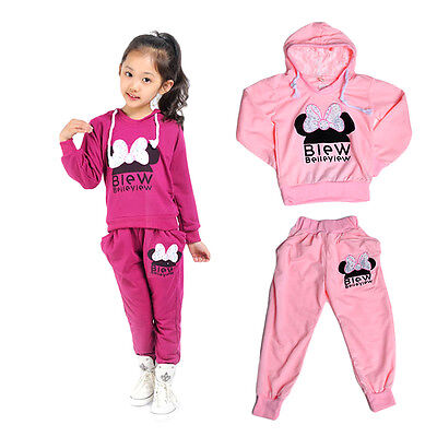 Baby Korean Style Girls Set Print Cotton Sports Sweatshirts With Casual Pants F&
