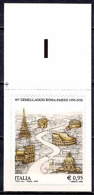 Italy 2016 Rome & Paris -Twinning Building Architecture History Tourism 1v MNH