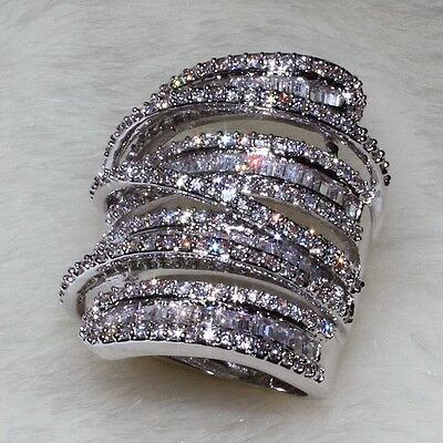 Luxury Women Men Jewelry White sapphire Cz 925 Silver Big Wedding Band ring Gift