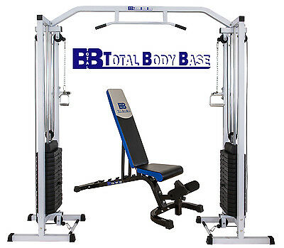 Total Body Base Cable Crossover Machine 150kg with Adjustable Bench Home Gym