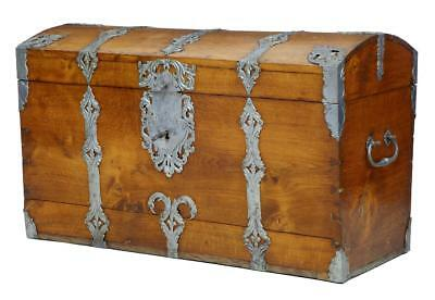 19Th Century Metal Bound Oak Trunk Chest