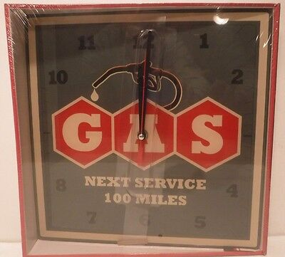 Gas Next Service 100 Miles Gasoline Wall Clock Man Cave, Garage, Bar, Office-New