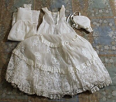 Baby Dress Christening - Hand Embroidery On Tulle - End Of The Century Xix