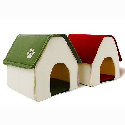 Pet House Foot Decor Indoor Dog Kennel Foldable Cat Resting Bed Simple Green/Red