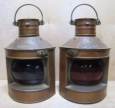 Old Pair Tung Woo Hong Kong Nautical Oil Lamps Copper Lanterns Starboard & Port