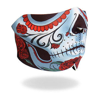 Sugar Skull Design Motorcycle Biker Ski Snowmobile Neoprene Half Face Mask #1005