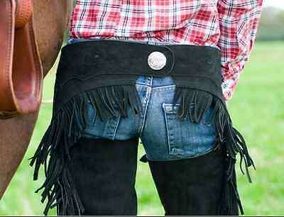 HKM Western Show Chaps - Genuine Leather - with frills