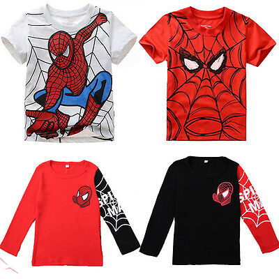 Kids Boys Spiderman Long Short Sleeve T-shirts Baby Girl Shirts Tee Clothing New