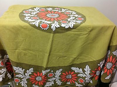 "Vintage 1970s Tablecloth Dunmay IRELAND Cotton Mix 63"" ROUND"