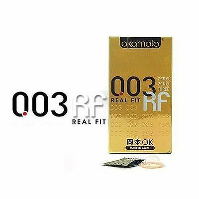 10Pcs OKAMOTO 003 Real Fit Shaped Ultra Thin Lubricated Latex Condom Pack vee