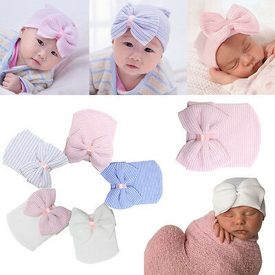 Newborn Stripe Bowknot Beanie Hat Infant Comfy Hospital Cap For 0-3 Months Baby