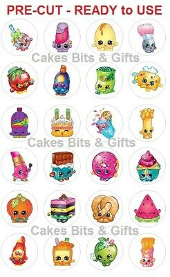 24 x SHOPKINS Edible Wafer Cupcake Toppers PRE-CUT & READY TO USE on your Cakes